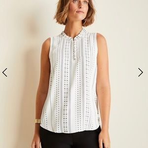 Ann Taylor Geo Smocked Neck Shell